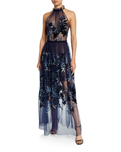 Myranda Sheer Tulle Halter Dress with Velvet Embroidery
