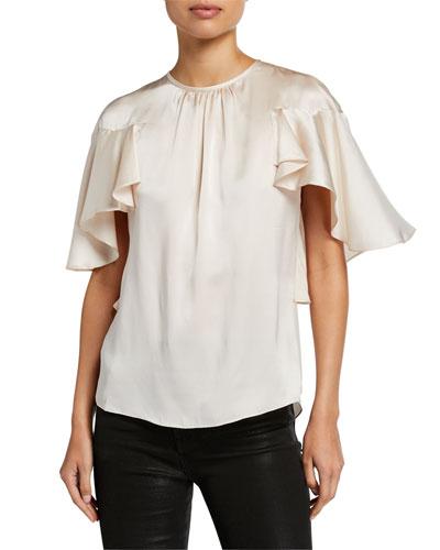 Evangeline Crewneck Flutter-Sleeve Silk Blouse