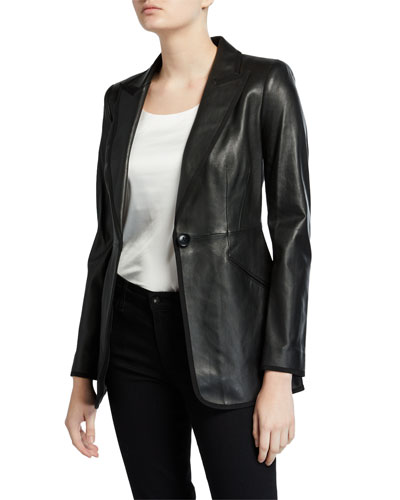 classic styles wide range affordable price Polyester Lining Leather Jacket | Neiman Marcus