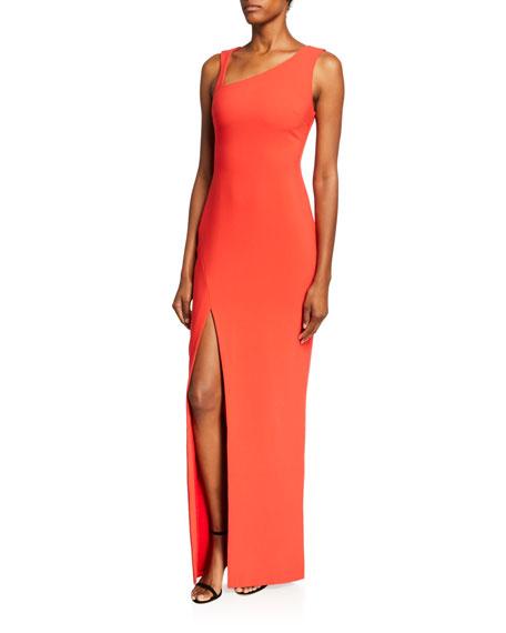 Likely Samira Asymmetric-Neck Sleeveless Column Gown