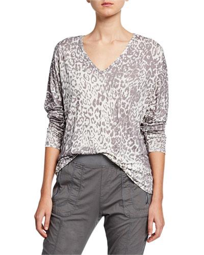 Plus Size Leopard Print V-Neck Long-Sleeve Top