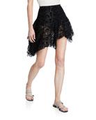 Anais Jourden Velvet-Lace High-Low Skirt