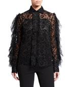Anais Jourden Velvet Lace Shirt with Ruffles