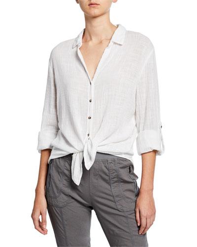 Plus Size Porter Button-Front Gauze Blouse