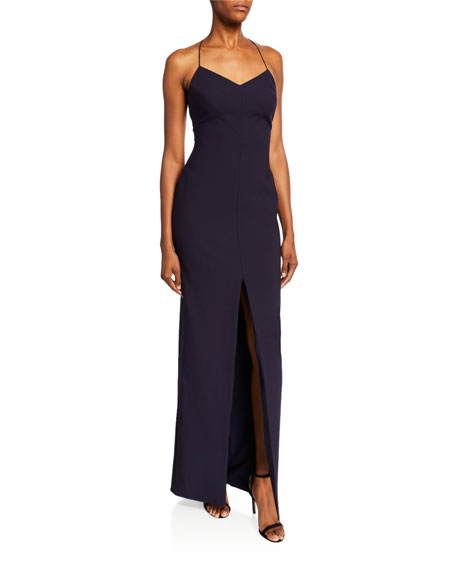 Likely Estella Halter Gown with Front-Slit