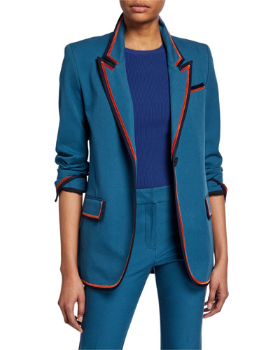 Single-Button Blazer with Ribbed Trim