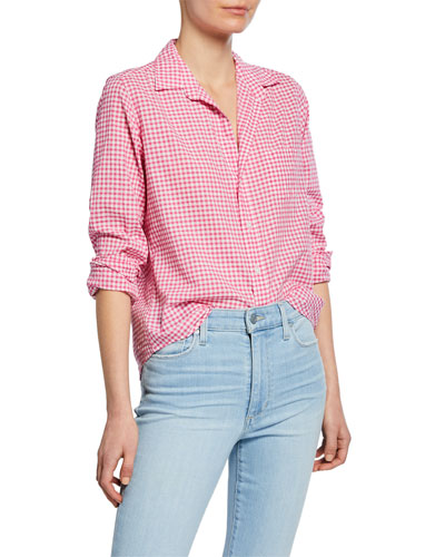 Barry Gingham Chambray Long-Sleeve Button-Down Shirt