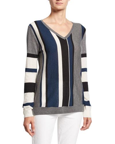 Block Stripe V-Neck Long-Sleeve Cashmere Sweater