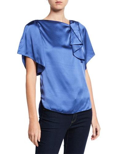 Tamra High-Neck Short-Sleeve Silk Satin Blouse