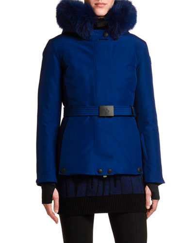 Laplance Belted Jacket w/ Fur Collar