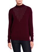 Neiman Marcus Cashmere Collection Embellished Mock-Neck Cashmere