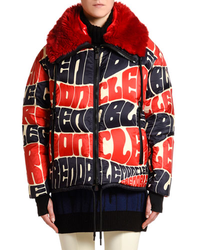 Logo Text Puffer Jacket w/ Faux Fur