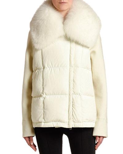 Mixed-Media Cardigan w/ Fur Collar