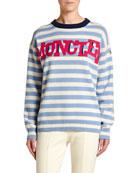 Moncler Striped Sweater w/ Logo Text