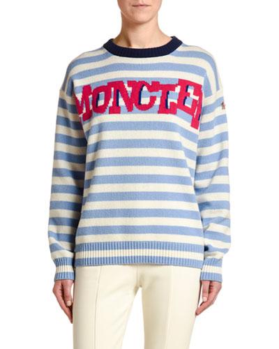 Striped Sweater w/ Logo Text