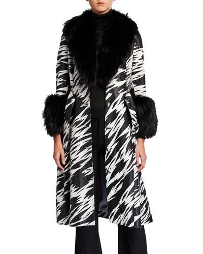 Foxy-Print Long Lamb Leather Fox Fur-Trim Coat