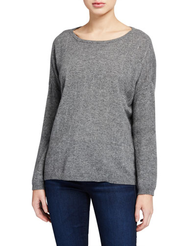 Embellished Stripe Bateau-Neck Cashmere Sweater