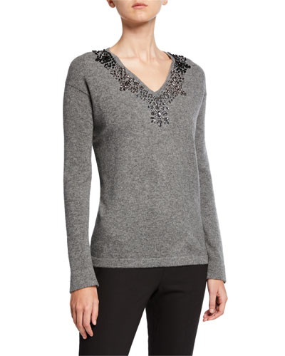 Embellished V-Neck Long-Sleeve Cashmere Sweater