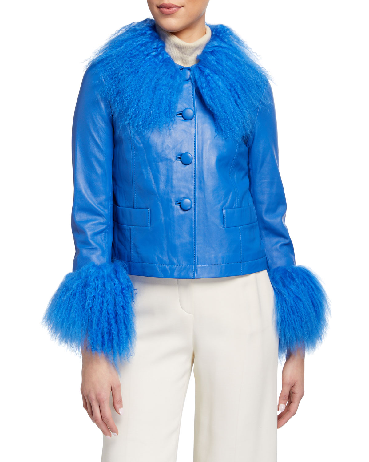 Saks Potts DORTHE LAMB LEATHER SHEARLING-COLLAR & CUFF JACKET, BLUE
