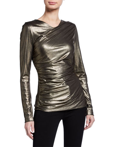 Sadira Metallic Long-Sleeve Ruched Knit Top