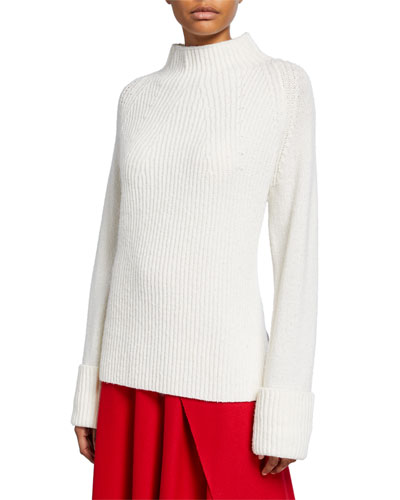 Mix Stitch Funnel-Neck Wool Sweater