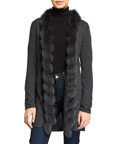 Cashmere Open-Front Cardigan with Fox Fur Trim