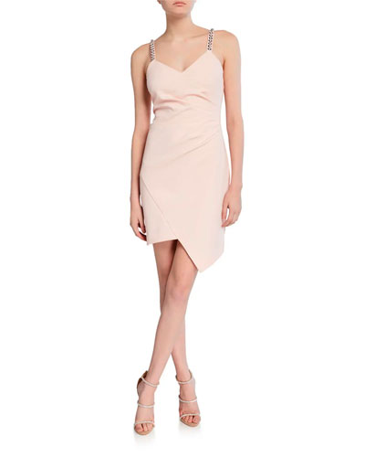 Alana V-Neck Stretch Crepe Mini Dress with Jeweled Straps