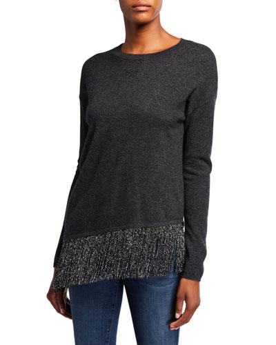 Asymmetric Metallic Fringe Crewneck Cashmere Sweater