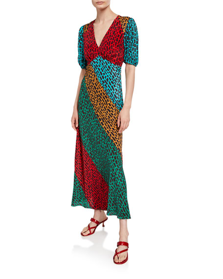 RIXO Amber Long Colorblock Dress