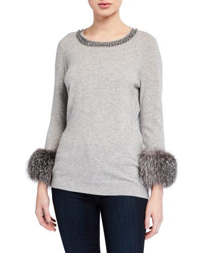Embellished Crewneck Fur-Cuff Cashmere Sweater