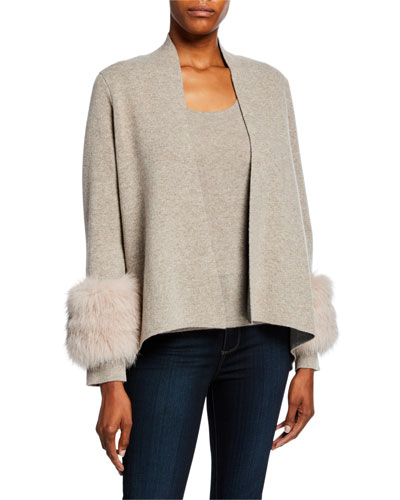 Open-Front Cashmere Cardigan with Fur