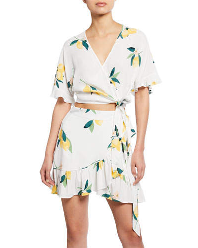 Athena Lemon-Print Wrap Crop Top