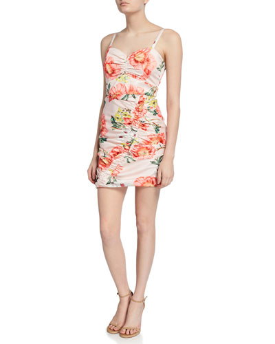 Meena Ruched Floral-Print Sweetheart Mini Dress