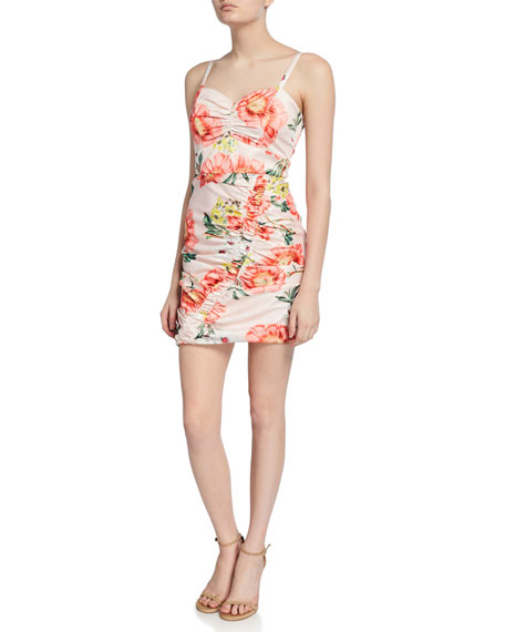Parker Black Meena Ruched Floral-Print Sweetheart Mini Dress