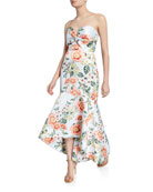 Parker Black Lilac Floral-Printed Strapless High-Low Satin