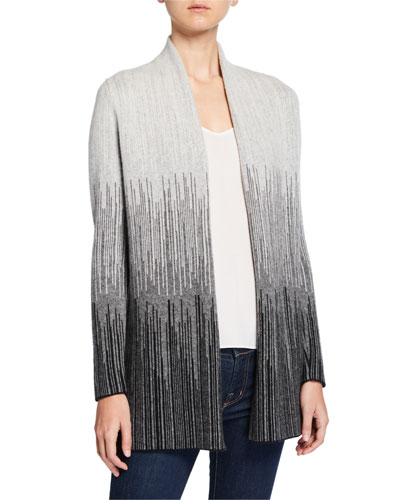 Jacquard Striped Open-Front Cashmere Cardigan
