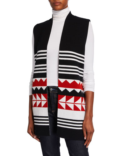 Reversible Cashmere Geometric Striped Vest
