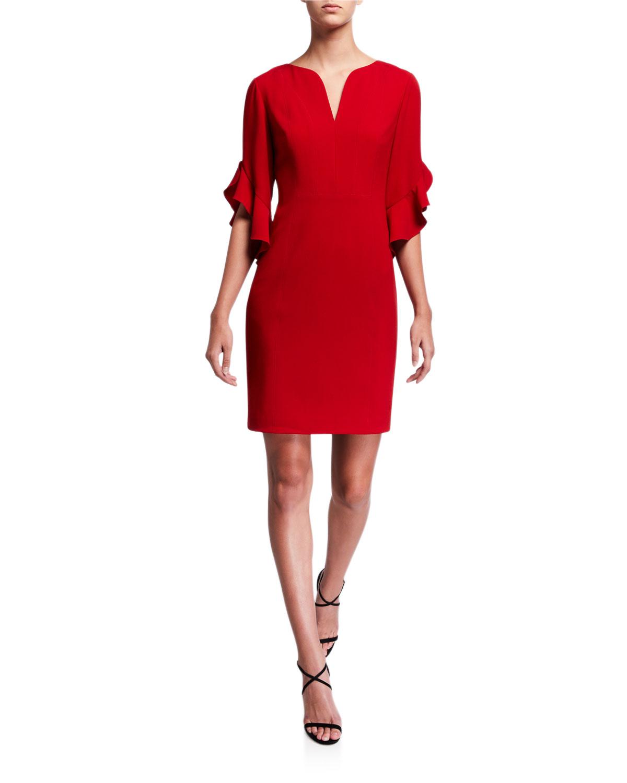 Elie Tahari Dresses NATANYA V-NECK RUFFLE-SLEEVE SHEATH DRESS