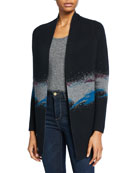 Neiman Marcus Cashmere Collection Cashmere Middle Stripe Open