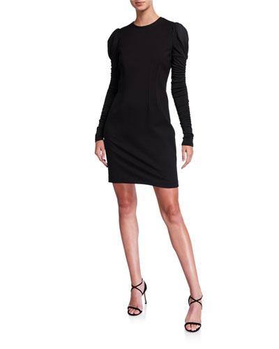 Fidelia Long-Sleeve Slit-Back Mini Ponte Dress