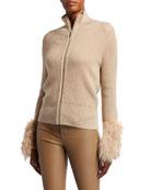 Elie Tahari Norah Zip-Front Wool Sweater with Fur