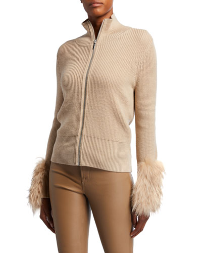 Norah Zip-Front Wool Sweater with Fur Cuffs