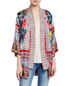 Johnny Was Plus Size Bernie Multi-Print 3/4-Sleeve Silk