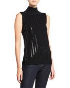 Neiman Marcus Cashmere Collection Sequin Stripe Sleeveless