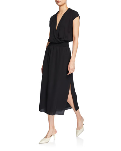 Draped Surplice Short-Sleeve Midi Silk Dress