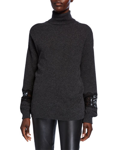 Cashmere Turtleneck Blouson-Sleeve Sweater with Lace Insets