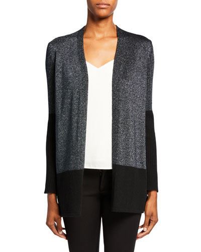 Cashmere Metallic Colorblock Rib Cardigan