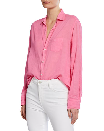 Cotton Voile Button-Down Shirt
