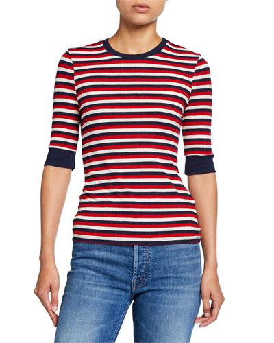 Pennlea 3/4-Sleeve Striped Top