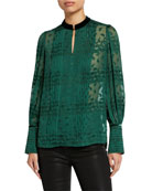 Elie Tahari Laci Embroidered Long-Sleeve Pintucked Blouse w/
